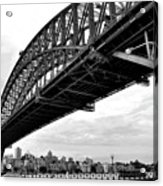 Spanning Sydney Harbour - Black And White Acrylic Print