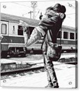 Sparkle At The Train Station - Ballpoint Pen Art Acrylic Print