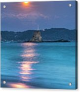 Sparkle Of Orange (full Moon) Acrylic Print by Tommy Tsutsui