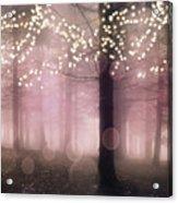 Sparkling Fantasy Fairytale Trees Nature Pink Woodlands - Sparkling Lights Bokeh Fantasy Trees Acrylic Print