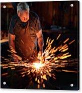Sparks When Blacksmith Hit Hot Iron Acrylic Print