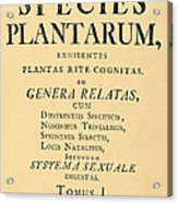 Species Plantarum, Linnaeus, 1753 Acrylic Print
