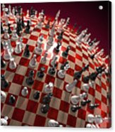 Spherical Chess Board World Acrylic Print