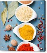 Spices On Blue   Acrylic Print