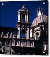 Spire And Cupola St Agnese In Agone Piazza Navona Rome Italy Acrylic Print