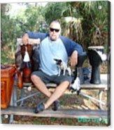 Spiritual Drummer And His Dog Acrylic Print