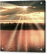 Spiritual Sunset Above A Mountain Lake Acrylic Print