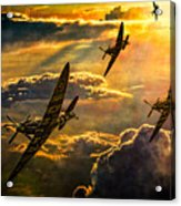 Spitfire Attack Acrylic Print by Chris Lord