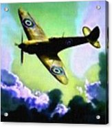 Spitfire In The Clouds H B Acrylic Print