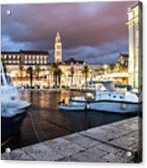 Split Harbor Night View In Croatia Acrylic Print