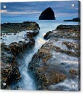 Splitting Stone Acrylic Print by Mike  Dawson