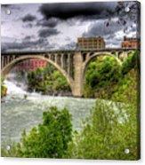 Spokane Falls And Monroe Bridge Acrylic Print