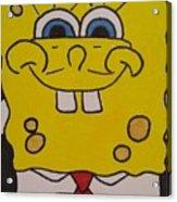 Sponge Square Yellow Brown Pants Cartoon Acrylic Print