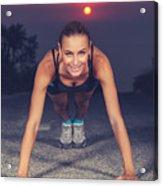 Sportive Woman Doing Pushups Outdoors Acrylic Print