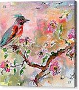 Spring Bird Fantasy Watercolor  Acrylic Print