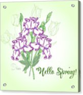Spring Bouquet  With Three Irises.  Acrylic Print