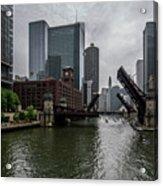 Spring Bridge Lift Scene In Chicago  Acrylic Print