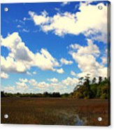 Spring Clouds Over The Marsh Acrylic Print