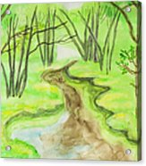 Spring Landscape, Watercolours Acrylic Print