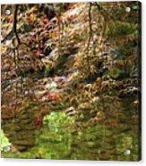 Spring Maple Leaves Over Japanese Garden Pond Acrylic Print