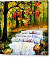 Spring Stream - Palette Knife Oil Painting On Canvas By Leonid Afremov Acrylic Print