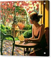 Spring, View From A Cafe Window In Paris Acrylic Print