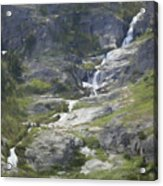Spring Waterfall In The Tetons Acrylic Print