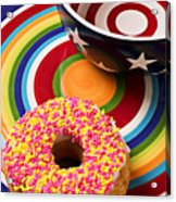 Sprinkled Donut On Circle Plate With Bowl Acrylic Print