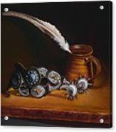 Spurs And Hand Made Pottery And Feather Acrylic Print