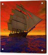 Square-rigged Ship At Sunset Acrylic Print