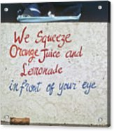 Squeezed Juice Sign Acrylic Print