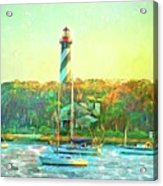 St Augustine Lighthouse Waterscaped Acrylic Print