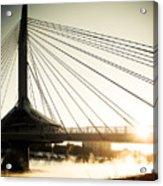 St. Boniface Bridge At Winter Sunrise Acrylic Print by Michael Knight