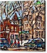 St Gabriel's Rectory  St Charles Church Rue Centre Pointe St Charles  Original Oil Painting Cspandau Acrylic Print