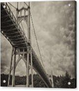 St. Johns Bridge In Black And White Acrylic Print