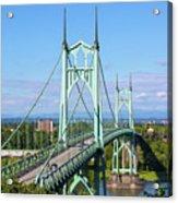 St Johns Bridge Over Willamette River Acrylic Print