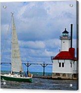 St. Joseph Lighthouse Sailboat Acrylic Print