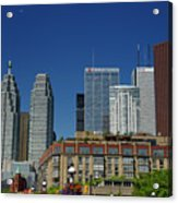 St Lawrence Market And Gooderham Flatiron Building With Cn Tower Acrylic Print
