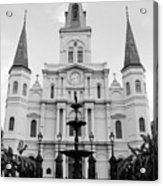 St Louis Cathedral And Fountain Jackson Square French Quarter New Orleans Black And White Acrylic Print