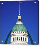 St Louis City Hall With Arch In Background Acrylic Print