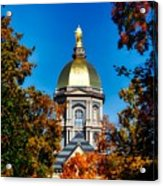 St Mary Atop The Golden Dome Of Notre Dame Acrylic Print