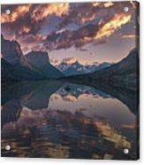 St Mary Lake At Dusk Panorama Acrylic Print