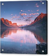 St Mary Lake In Early Morning With Moon Acrylic Print