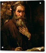 St Matthew And The Angel Acrylic Print by Rembrandt Harmensz van Rijn
