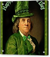 St Patrick's Day Ben Franklin Acrylic Print