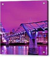 St Pauls And Millennium Bridge Over The River Thames Acrylic Print