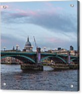 St. Paul's Cathedral Behind The Southwark Bridge During Sunset Acrylic Print