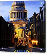 St. Paul's Cathedral From Millennium Bridge Acrylic Print by Elena Elisseeva