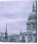 St Pauls Snow Acrylic Print