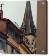 St. Peter Tower Zurich Switzerland Acrylic Print by Susanne Van Hulst